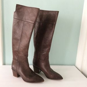 Franco Sarto Shannon Brown Tall Leather Boots,  7M